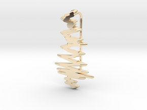 Gravitational Waves - LIGO Livingstone (short) in 14k Gold Plated Brass