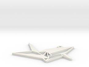 Crane Necklace Ornament in White Natural Versatile Plastic