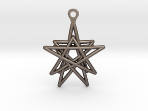 3D Printed Star in the Universe Earrings by bondsw in Polished Bronzed Silver Steel