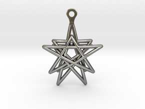 3D Printed Star in the Universe Earrings by bondsw in Polished Silver