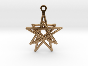 3D Printed Star in the Universe Earrings by bondsw in Polished Brass