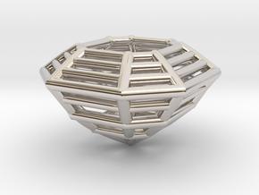 3D Printed Diamond Asscher Cut Earrings (Small) in Rhodium Plated Brass