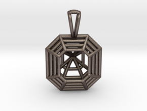 3D Printed Diamond Asscher Cut Pendant  in Polished Bronzed Silver Steel