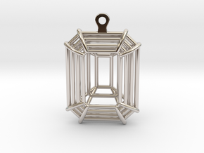 3D Printed Diamond Emerald Cut Earrings (Small)  in Rhodium Plated Brass