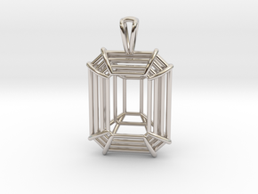 3D Printed Diamond Emerald Cut Pendant Large in Rhodium Plated Brass