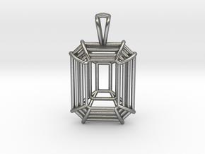 3D Printed Diamond Emerald Cut Pendant (Small)  in Natural Silver