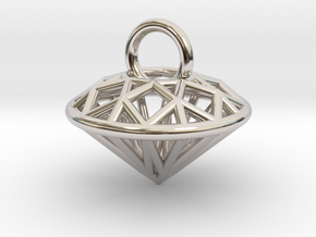 3D Printed Diamond is My Best Friend Pendant Small in Rhodium Plated Brass