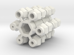 Universal Joint - Short version 2x in White Natural Versatile Plastic