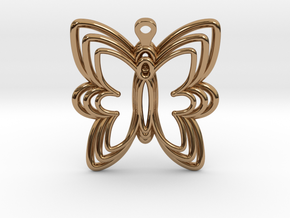 3D Printed Wired Butterfly Earrings  in Polished Brass
