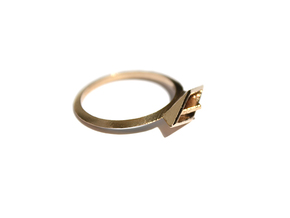 Paper Boat Ring in Natural Bronze