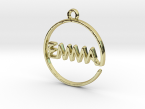 EMMA First Name Pendant in 18k Gold Plated Brass