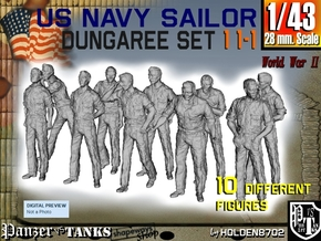 1-43 US Navy Dungaree Set 11-1 in Frosted Ultra Detail