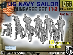 1-56 US Navy Dungaree Set 11-2 in Smooth Fine Detail Plastic