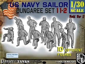 1-30 US Navy Dungaree Set 11-2 in White Strong & Flexible