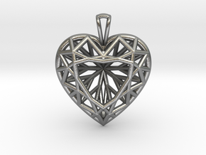 3D Printed Diamond Heart Cut Pendant (Large)  in Natural Silver