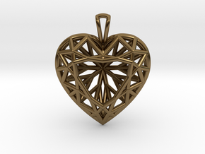 3D Printed Diamond Heart Cut Pendant (Large)  in Polished Bronze