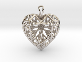 3D Printed Diamond Heart Cut Pendant (Large)  in Rhodium Plated Brass