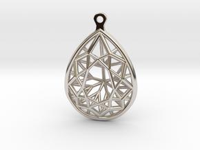 3D Printed Diamond Pear Drop Earrings in Rhodium Plated Brass