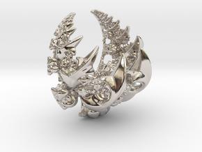 Fleur-de-lis Fractal Pendant in Rhodium Plated Brass
