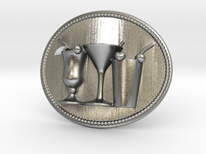 Cocktail Party Belt Buckle in Natural Silver