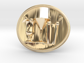 Cocktail Party Belt Buckle in 14k Gold Plated Brass