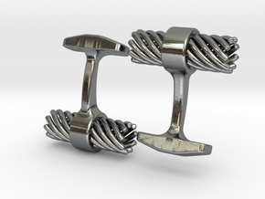 Mens Cufflinks twisted spiral in Polished Silver