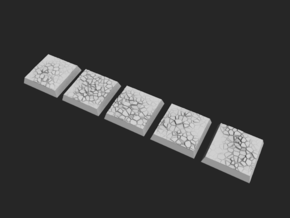 20mm Square Bases - Baked Earth in Smooth Fine Detail Plastic