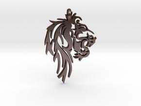 Leo Lion Zodiac Astrology Pendant in Polished Bronze Steel