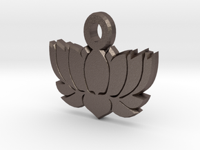 Yoga LOTUS FLOWER Pendant 2 in Polished Bronzed Silver Steel