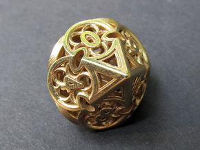 Gothic Rosette d10 in Natural Brass