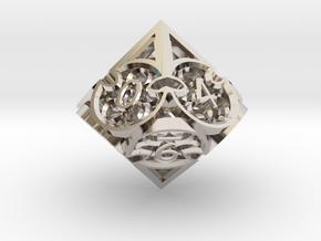 Gothic Rosette d10 in Rhodium Plated Brass
