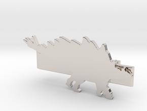 Stegosaurus Tie Clip in Rhodium Plated Brass
