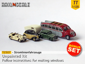 BONUS SET Stromlinienfahrzeuge (TT 1:120) in Smooth Fine Detail Plastic