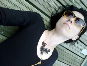 Glitch Necklace / Pendant v.1 in Black Natural Versatile Plastic