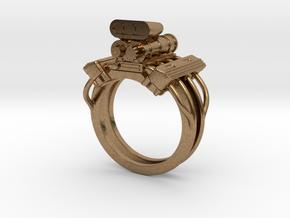 V8 Engine Ring in Natural Brass