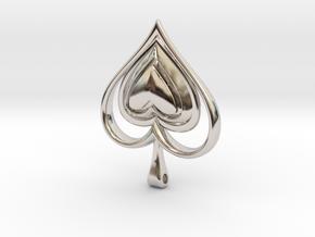 Spade Heart Pendant in Platinum
