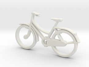 Bicycle No.2  Pendant and Keychain in White Natural Versatile Plastic