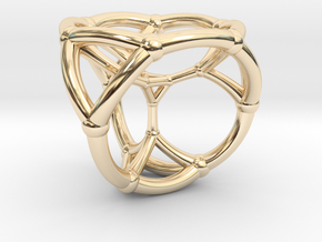 0504 Stereographic Trancated Polychora 16-cell in 14k Gold Plated Brass