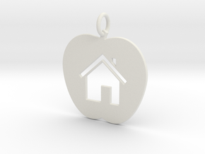 House Keychain and Pendant in White Natural Versatile Plastic