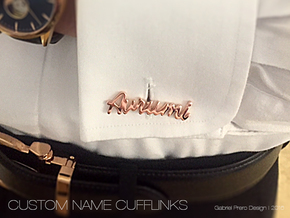 Custom Name Cufflinks - Avrumi in 14k Rose Gold Plated Brass