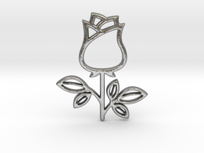 Rose No.1 Pendant in Natural Silver