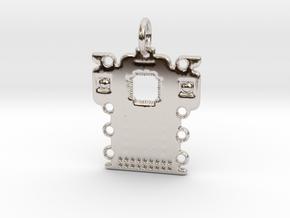 Electronics Pendant in Rhodium Plated Brass