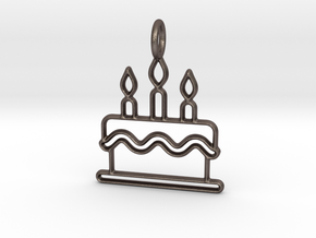 Birthday Cake in Polished Bronzed Silver Steel