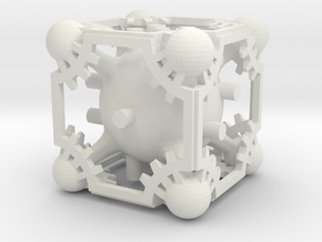 Spheres 'n' Gears D6 in White Natural Versatile Plastic