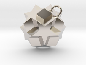 Dodecadodecahedron Charm in Rhodium Plated Brass