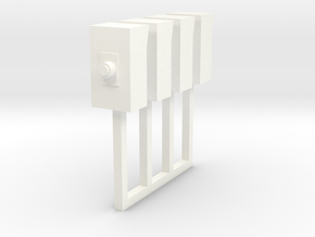 Small Electrical Cabinet On Post 1-87 HO Scale in White Strong & Flexible Polished
