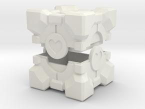 Companion Cube Box in White Natural Versatile Plastic