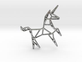 Unicorn Pendant in Natural Silver