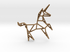 Unicorn Pendant in Natural Brass