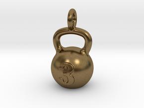 Kettlebell Tiny Little Pendant in Natural Bronze